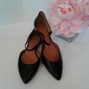 Sigerson Morrison black leather flats shoes size 7